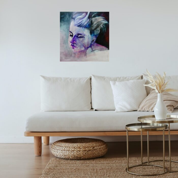 touched mixed media painting in lounge