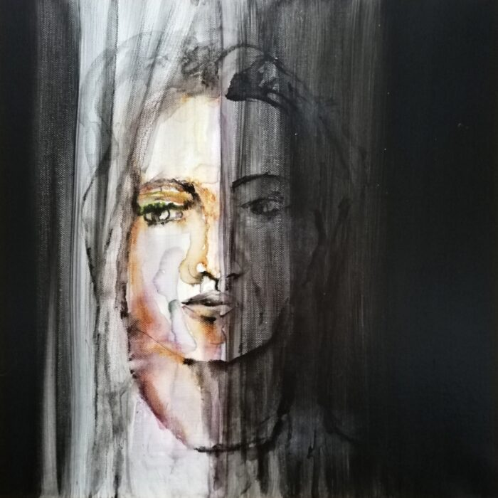 girl behind the curtain mixed media painting 40x40