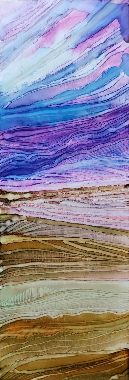 Desert at sunset 45x15 ink