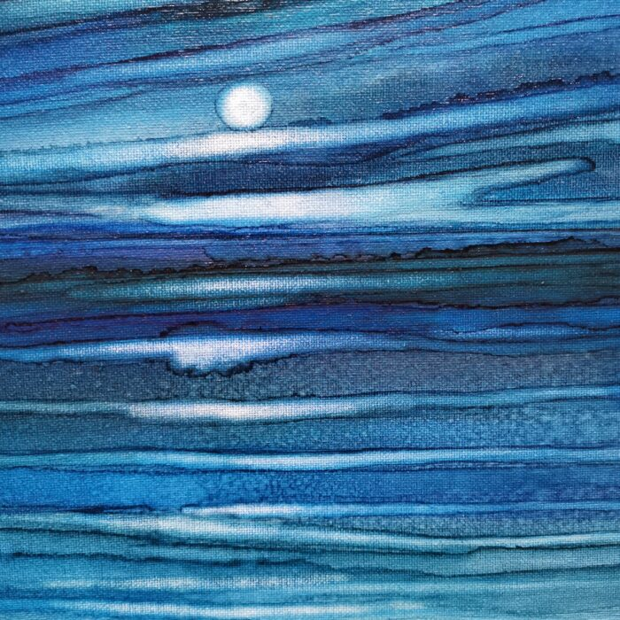 blue dawn ink painting detail