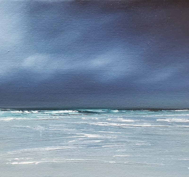 Blue and green 25x50 oil painting on canvas