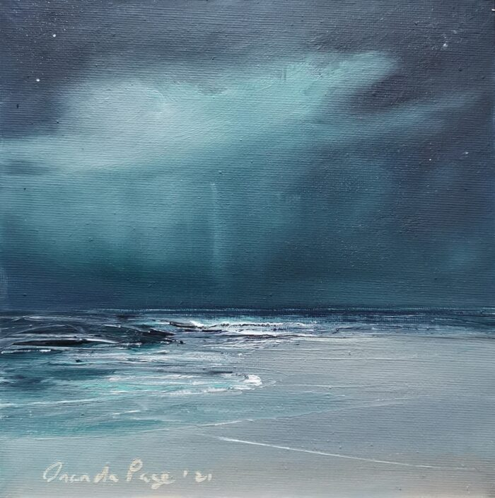 Turquoise rain 20x20 oil on canvas