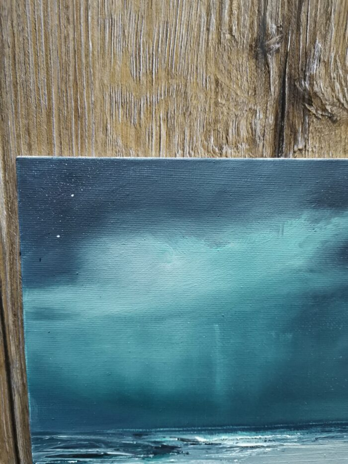 Turquoise rain 20x20 oil on canvas sky colours