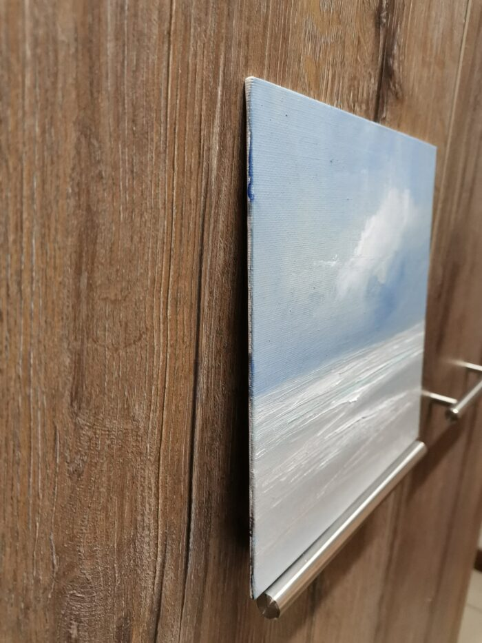 Wind swept 20x20 oil painting canvas panel side view