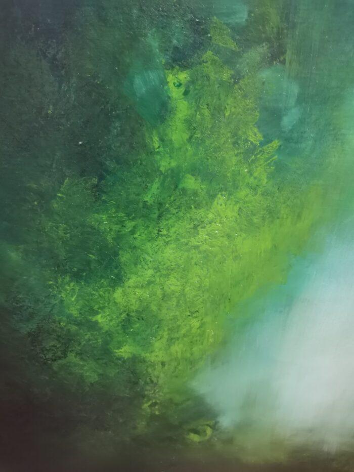 Teal 100x100 oil on canvas brushwork