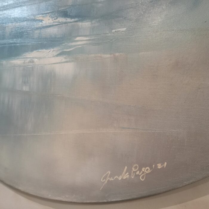 My world 75cm round oil painting artist signature and date