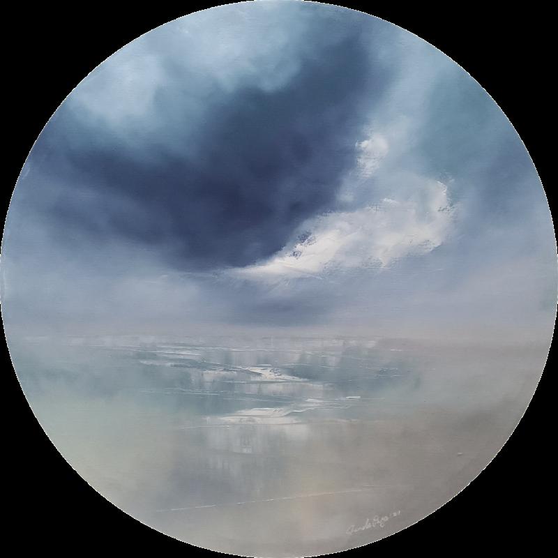 My world 75cm round oil painting