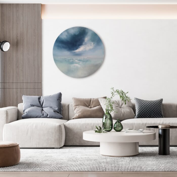 My world 75cm round oil painting in situ